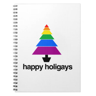 HAPPY HOLIGAYS TREE -.png Spiral Notebook