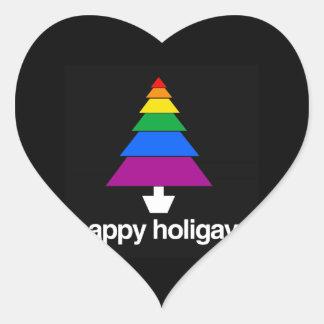 HAPPY HOLIGAYS TREE HEART STICKER
