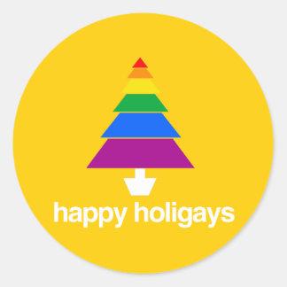 HAPPY HOLIGAYS TREE ROUND STICKERS