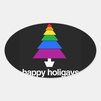 HAPPY HOLIGAYS TREE OVAL STICKERS