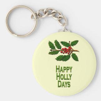 Happy Holly Days Basic Round Button Keychain