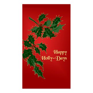 Happy Holly-Days Christmas Gift Tags Business Card Templates