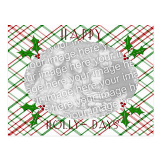 Happy Holly-days Photo template Postcard