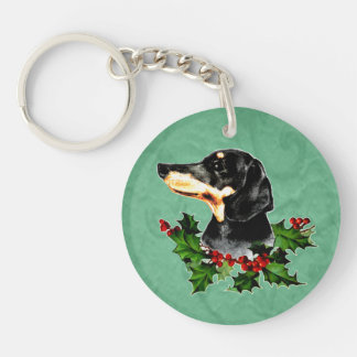Happy Hollydax Christmas Dachshund Holiday Keychain