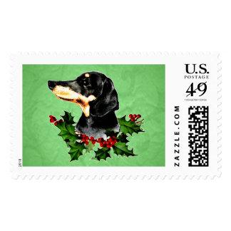 Happy Hollydax Christmas Dachshund Holidays Postage