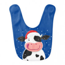 Happy Holstein Cow In The Christmas Snow Baby Bib