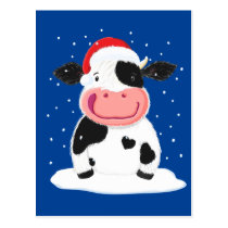 Happy Holstein Cow In The Christmas Snow Postcard