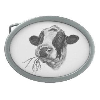 Happy Holstein Friesian Dairy Cow Oval Belt Buckle