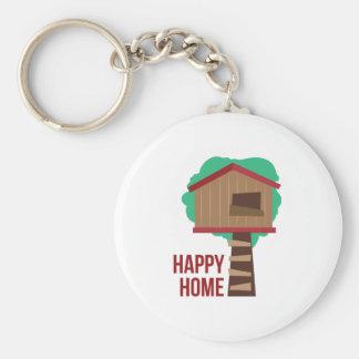 Happy Home Basic Round Button Keychain