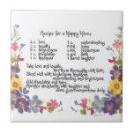 """Happy Home Recipe Ceramic Tile<br><div class=""""desc"""">Great gifts with wonderful words of wisdom and truth for any family,  couple or group who live together.  Great for anniversaries,  showers,  engagements,  new baby,  or anytime!  Follow this recipe and happiness will follow.  Pressed flowers include wild geranium,  lobelia,  salvia,  delphinium and narcissus.</div>"""