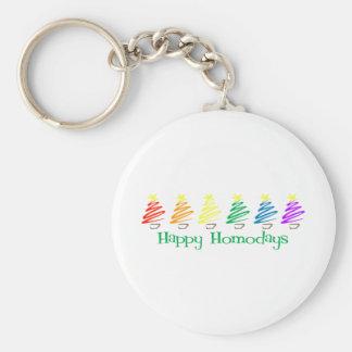 Happy Homodays (Rainbow Christmas Trees) Keychain