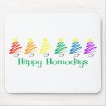 Happy Homodays (Rainbow Christmas Trees) Mouse Pads