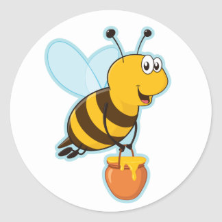 Happy Honey Bee & Honey Pot Classic Round Sticker