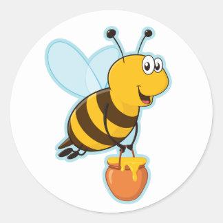 Happy Honey Bee & Honey Pot Classic Round Sticker