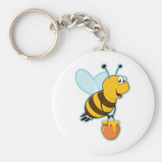 Happy Honey Bee & Honey Pot Keychain
