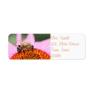 Happy honey bee label