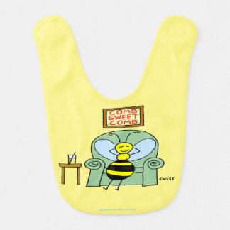 Happy Honey Bee Relaxing Cartoon Baby Bib