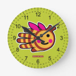 Hand shaped Happy honey bee with pink wings round clock