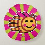 Hand shaped Happy Honeybee Bee Round Pillow