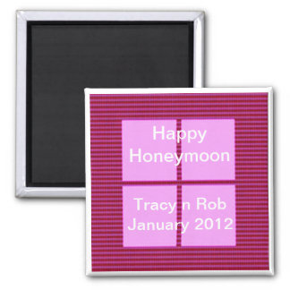 Happy Honeymoon - Pink Square Memory Bank Magnet