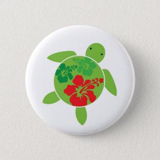 Happy Honu Hibiscus Button