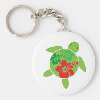 Happy Honu Hibiscus Keychain