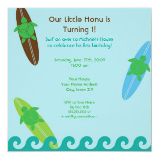 "Happy Honu Loves Surf Birthday Invitation 5.25"" Square Invitation Card"