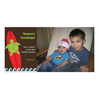 Happy Honu Surfing Christmas Photo Card