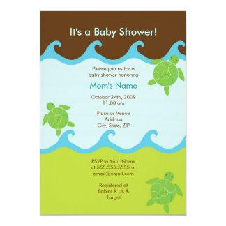 "Happy Honu Swirly Waves Baby Shower Invitation 5"" X 7"" Invitation Card"