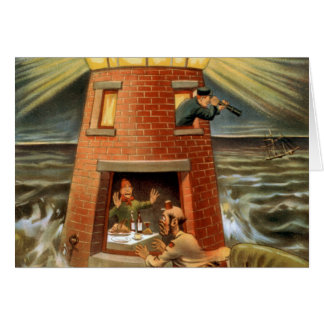 Happy Hooligan Lighthouse Poster Card