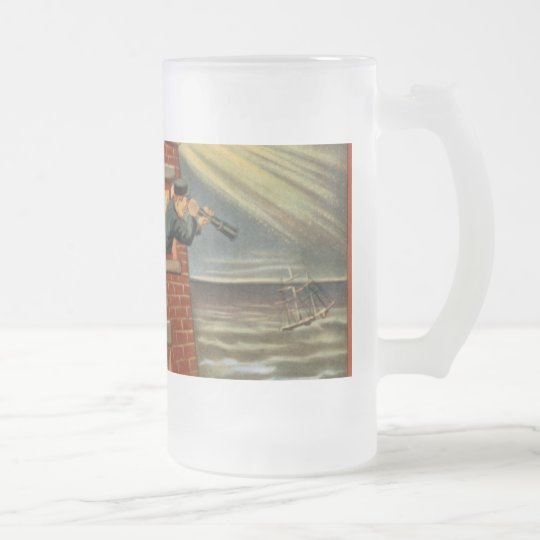 Happy Hooligan Lighthouse Poster Frosted Glass Beer Mug