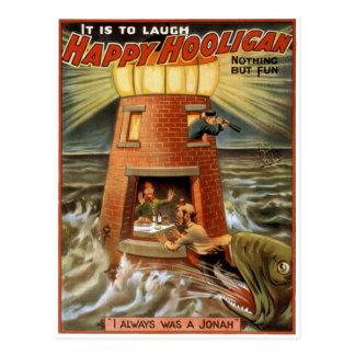 Happy Hooligan Lighthouse Poster Postcard