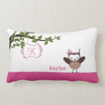 Happy Hoot Owl Personalized Girls Pillow