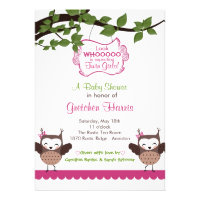 Happy Hoot Owl Twin Girl Baby Shower Invitations