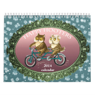 Happy hooters Owls funny seasons customizable 2014 Calendar