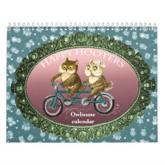 Happy hooters Owls funny seasons customizable Calendar