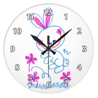 Happy Hopping Bunny Large Clock