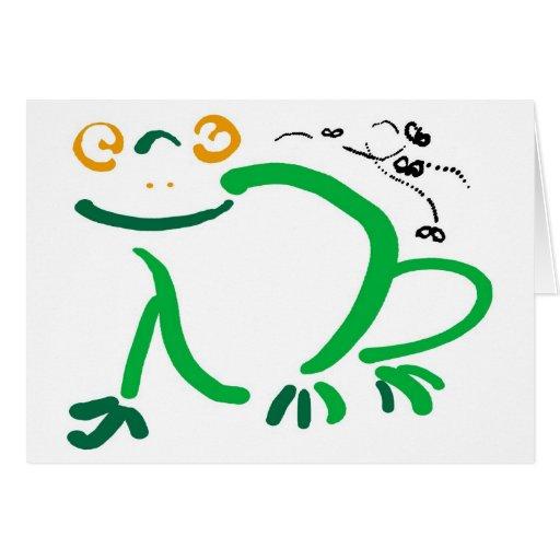 Happy hoppy frog greeting card