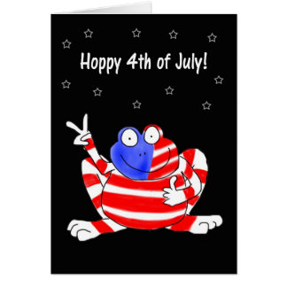 Happy Hoppy Frog Peace 4th of July Independence Card