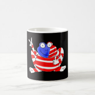 Happy Hoppy Frog Peace 4th of July Red White Blue Coffee Mug