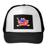 Happy Hoppy Frog Peace 4th of July Red White Blue Mesh Hats