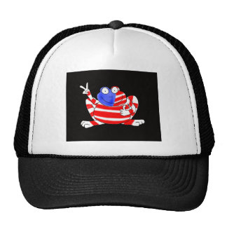 Happy Hoppy Frog Peace 4th of July Red White Blue Trucker Hat