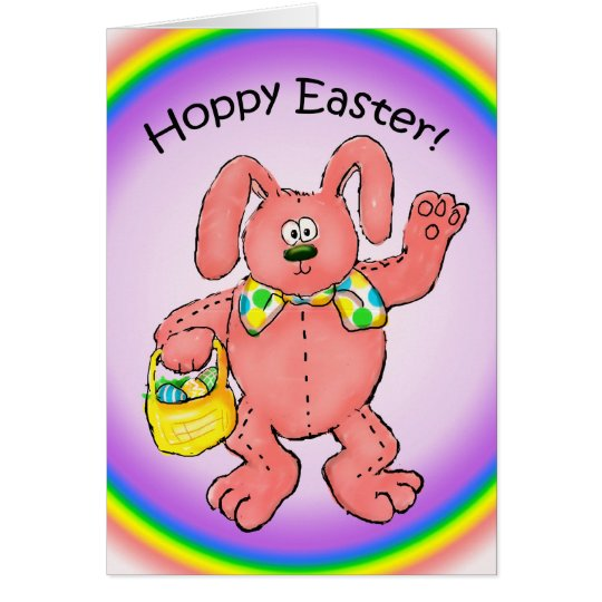 Happy Hoppy Funny Easter Bunny Card Rainbow
