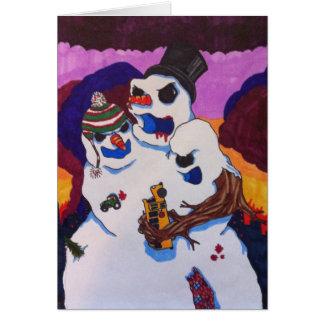 Happy Horrordays Mutant Snowman Monster Card
