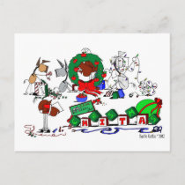 Happy Horse Farms Cartoon Christmas Postcard