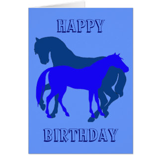Happy Horsy Birthday - blue2 Card
