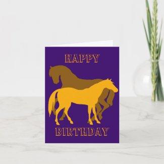 Happy Horsy Birthday - yellow2 Greeting Cards