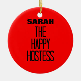Happy Hostess Double-Sided Ceramic Round Christmas Ornament
