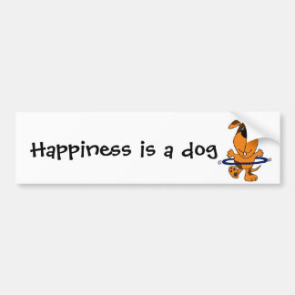 Happy Hound Dog Playing Hula Hoop Car Bumper Sticker