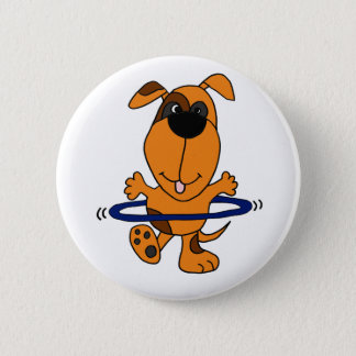 Happy Hound Dog Playing Hula Hoop Pinback Button